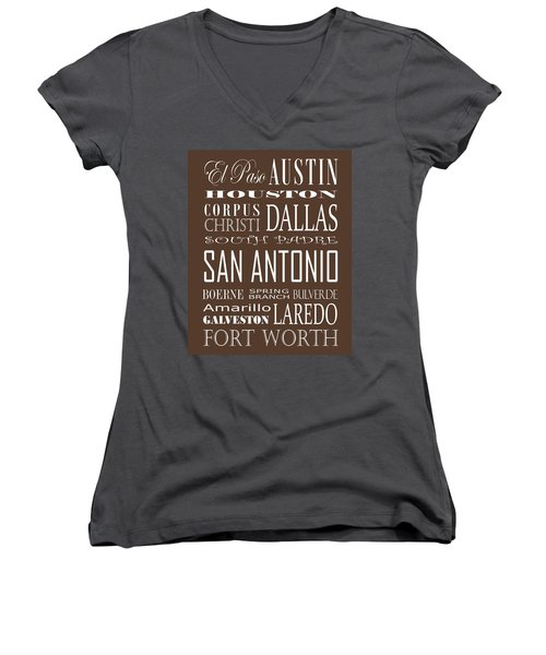 Texas Cities On Brown Women's V-Neck T-Shirt (Junior Cut) by Debbie Karnes