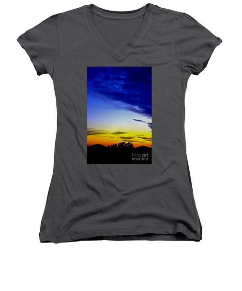Texas Hill Country Sunset Women's V-Neck (Athletic Fit)
