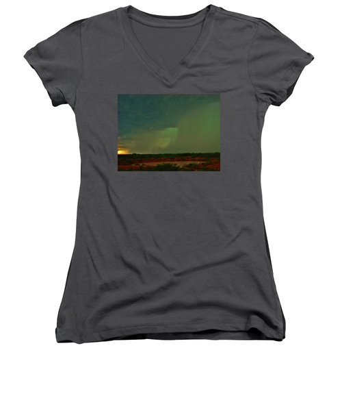 Texas Microburst Women's V-Neck T-Shirt (Junior Cut) by Ed Sweeney