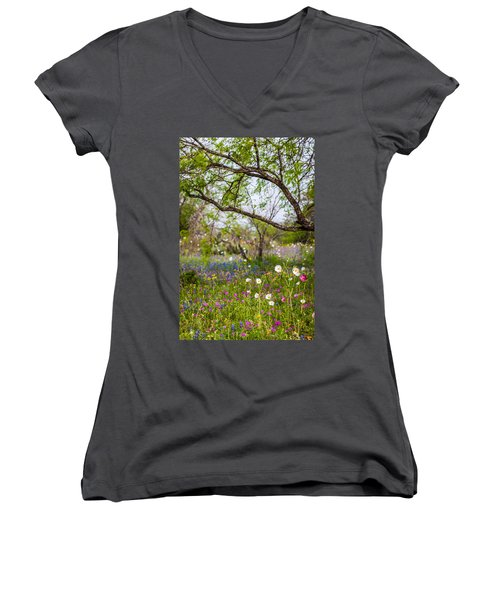 Texas Roadside Wildflowers 732 Women's V-Neck (Athletic Fit)