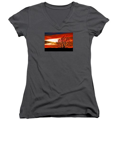 Texas Sunset Women's V-Neck (Athletic Fit)