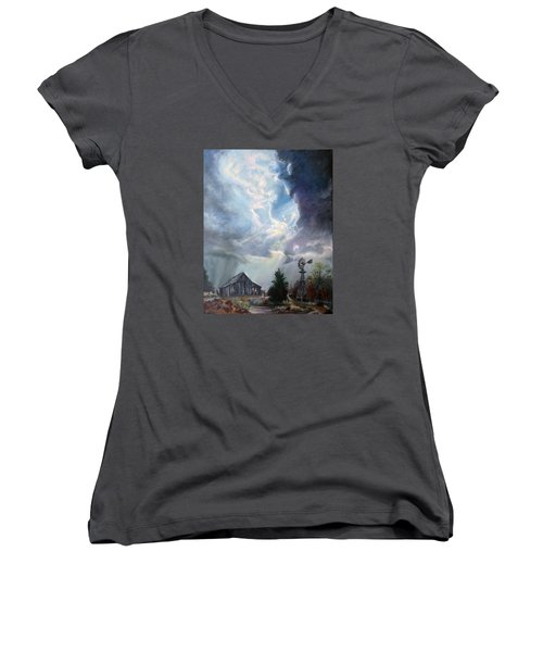 Women's V-Neck T-Shirt (Junior Cut) featuring the painting Texas Thunderstorm by Karen Kennedy Chatham
