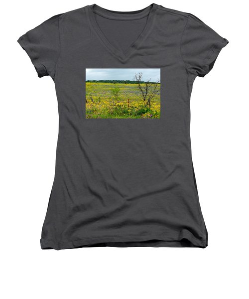 Texas Wildflowers And Mesquite Tree Women's V-Neck (Athletic Fit)