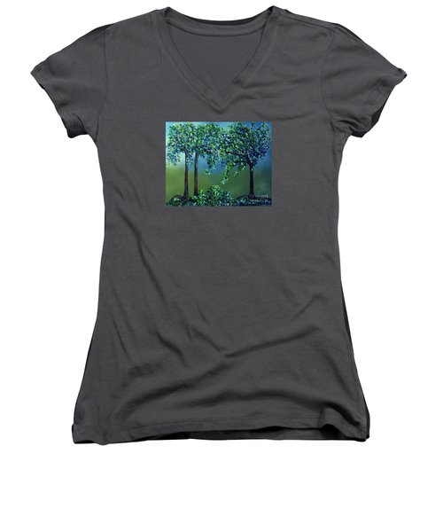 Women's V-Neck T-Shirt (Junior Cut) featuring the painting Texture Trees by Eloise Schneider