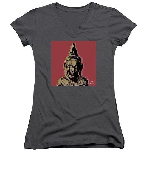 Thai Buddha #1 Women's V-Neck (Athletic Fit)