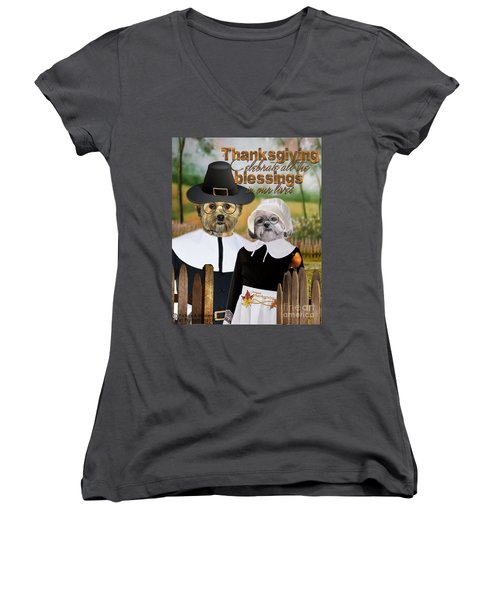 Thanksgiving From The Dogs-2 Women's V-Neck