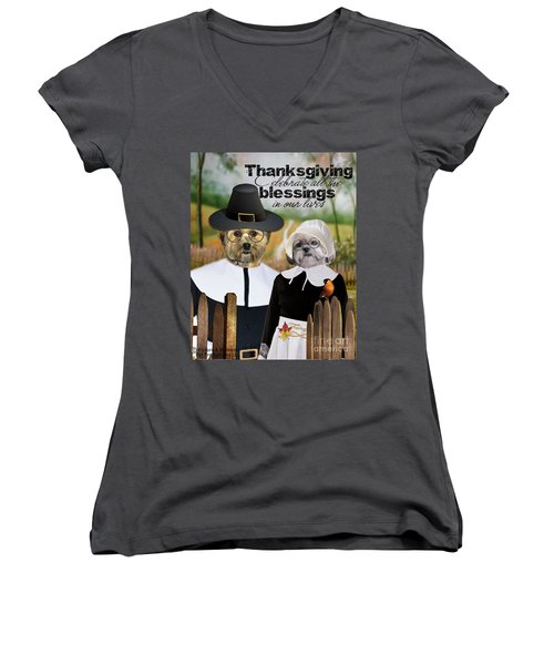 Thanksgiving From The Dogs Women's V-Neck