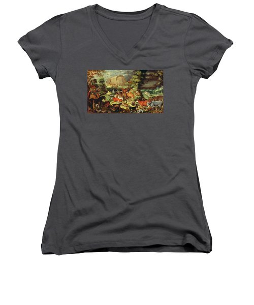 The Animals Entering The Ark Women's V-Neck T-Shirt (Junior Cut) by Jacob II Savery