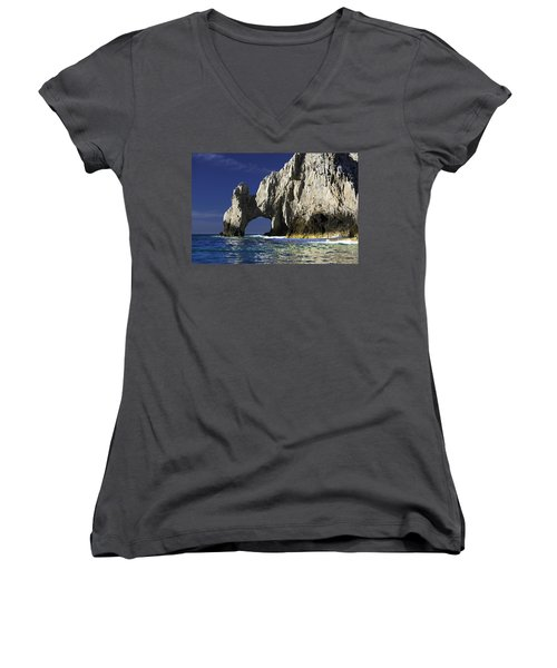 The Arch Cabo San Lucas Women's V-Neck T-Shirt (Junior Cut) by Sebastian Musial