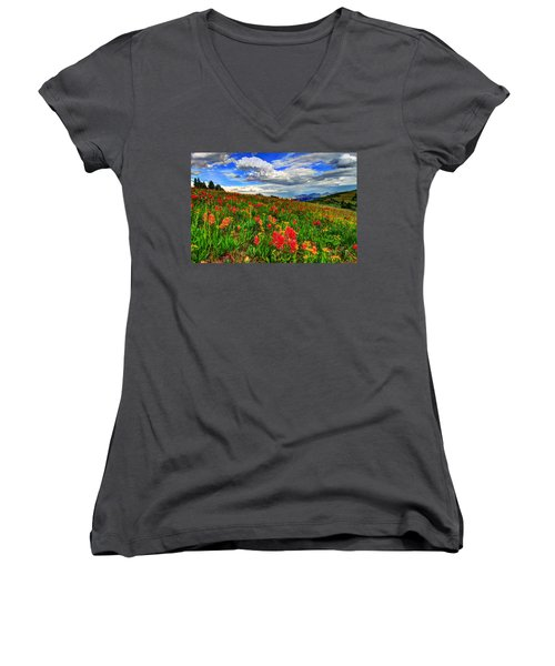 The Art Of Wildflowers Women's V-Neck T-Shirt (Junior Cut) by Scott Mahon