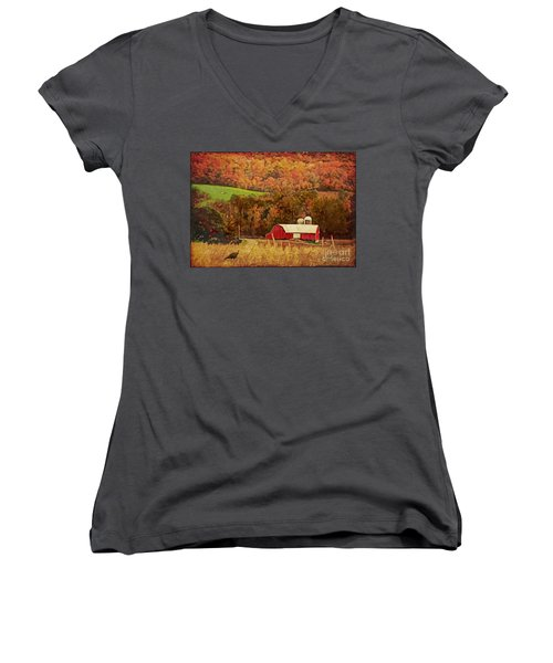 Women's V-Neck T-Shirt (Junior Cut) featuring the digital art The Autumn Barn by Lianne Schneider