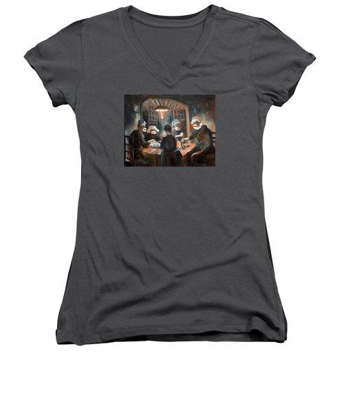 Tater Eatin Women's V-Neck T-Shirt (Junior Cut) by Randy Burns