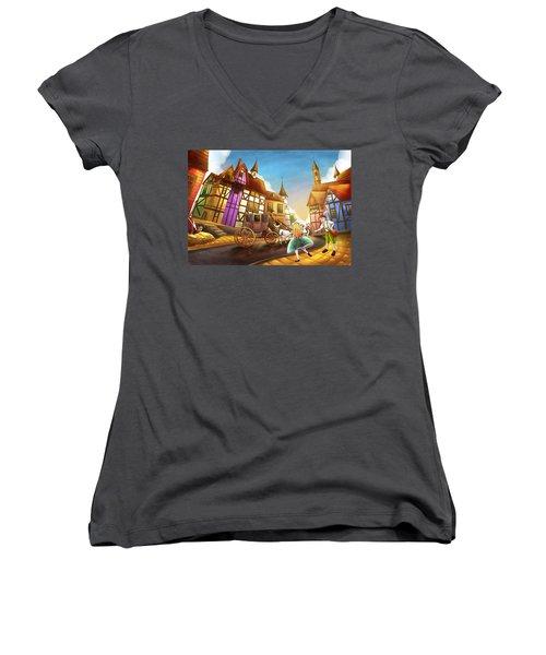The Bavarian Village Women's V-Neck T-Shirt (Junior Cut) by Reynold Jay