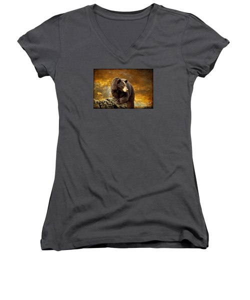 The Bear Went Over The Mountain Women's V-Neck (Athletic Fit)