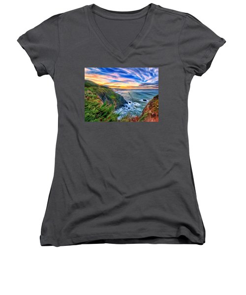 Women's V-Neck T-Shirt (Junior Cut) featuring the painting The Beauty Of Big Sur by Michael Pickett