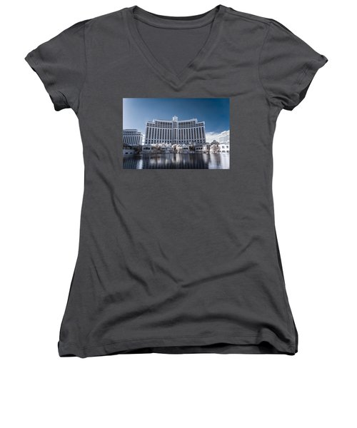 The Bellagio Hotel And Casino In Infrared Women's V-Neck