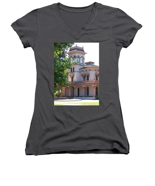The Bidwell Mansion Women's V-Neck T-Shirt (Junior Cut)