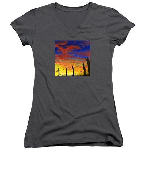 The Birds - Red Sky At Night Women's V-Neck T-Shirt (Junior Cut) by Jack Malloch
