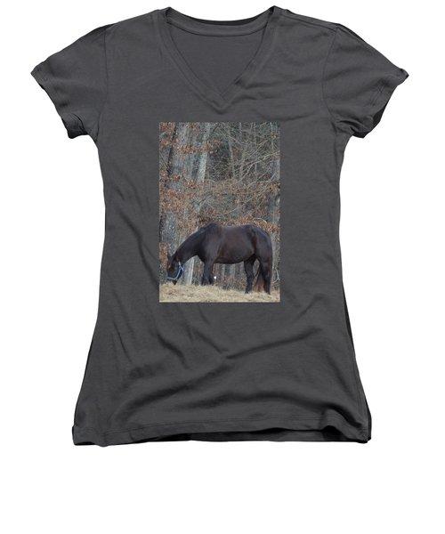 The Black Women's V-Neck T-Shirt (Junior Cut) by Maria Urso