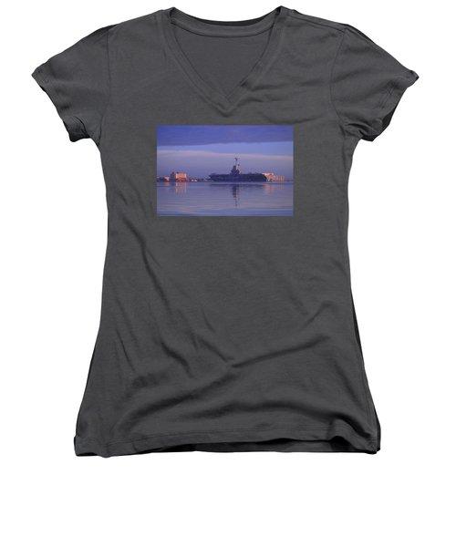 The Blue Ghost Women's V-Neck T-Shirt (Junior Cut) by Leticia Latocki