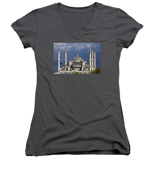 The Blue Mosque In Istanbul Women's V-Neck (Athletic Fit)