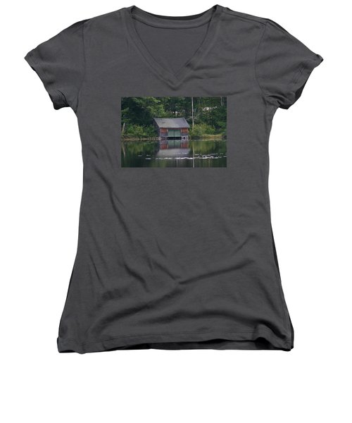 Women's V-Neck T-Shirt (Junior Cut) featuring the photograph The Boat House On Mt Chocorua Lake by Denyse Duhaime