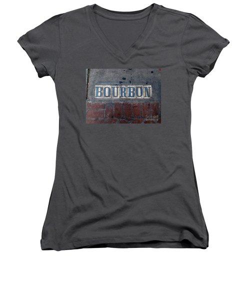 The Bourbon Street Sign Women's V-Neck T-Shirt (Junior Cut) by Joseph Baril