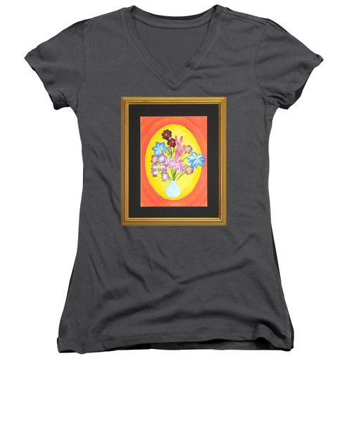 Women's V-Neck T-Shirt (Junior Cut) featuring the painting The Bud Vase by Ron Davidson
