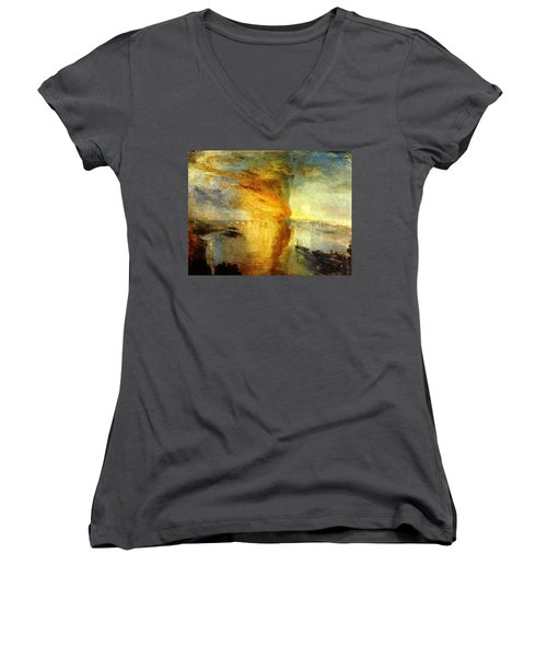 The Burning Of The Houses Of Lords And Commons Women's V-Neck (Athletic Fit)