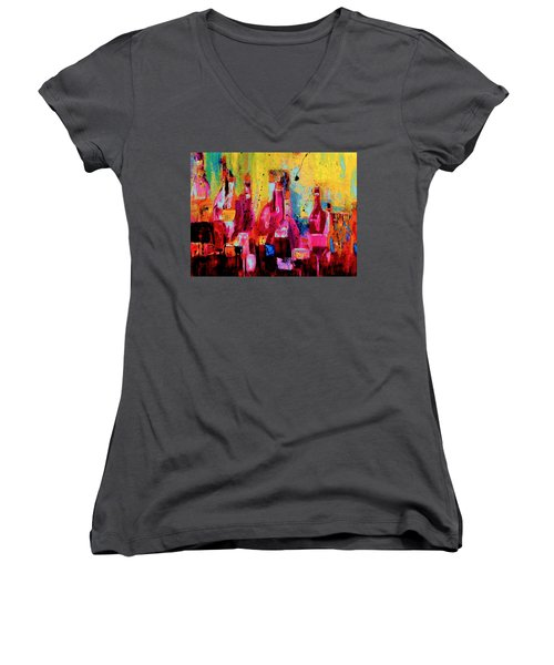 Women's V-Neck T-Shirt (Junior Cut) featuring the painting The Cabaret by Lisa Kaiser