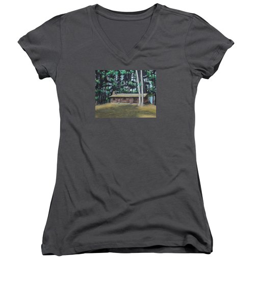 The Cabin Women's V-Neck T-Shirt (Junior Cut) by Jeanne Fischer