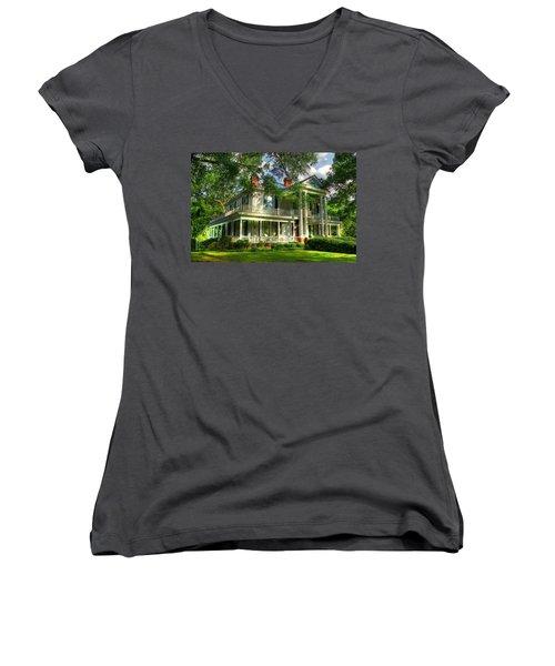 A Southern Bell The Carlton Home Art Southern Antebellum Art Women's V-Neck T-Shirt (Junior Cut) by Reid Callaway