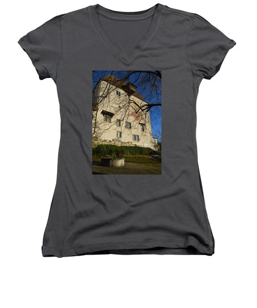Women's V-Neck T-Shirt (Junior Cut) featuring the photograph The Castle Greets A Sunny Day by Felicia Tica
