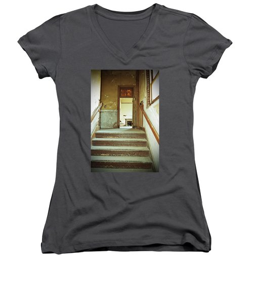 The Chair At The Top Of The Stairs Women's V-Neck T-Shirt (Junior Cut) by Holly Blunkall