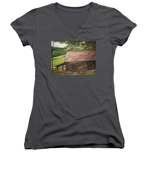 Women's V-Neck T-Shirt (Junior Cut) featuring the painting The Cherrys Barn by Jan Dappen