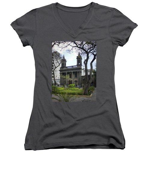 Women's V-Neck T-Shirt (Junior Cut) featuring the photograph The Church Green by Lynn Palmer