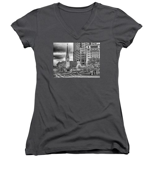 Women's V-Neck featuring the photograph The Church by Howard Salmon