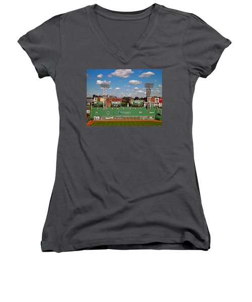 The Classic II Fenway Park Collection  Women's V-Neck T-Shirt (Junior Cut) by Iconic Images Art Gallery David Pucciarelli