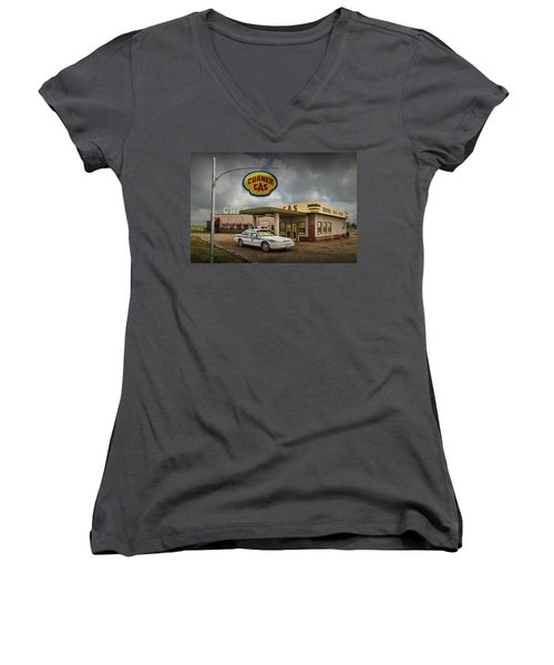 The Corner Gas Station From The Canadian Tv Sitcom Women's V-Neck