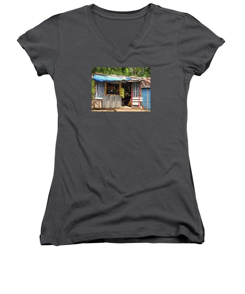 The Corner Market Women's V-Neck T-Shirt (Junior Cut) by Dominic Piperata