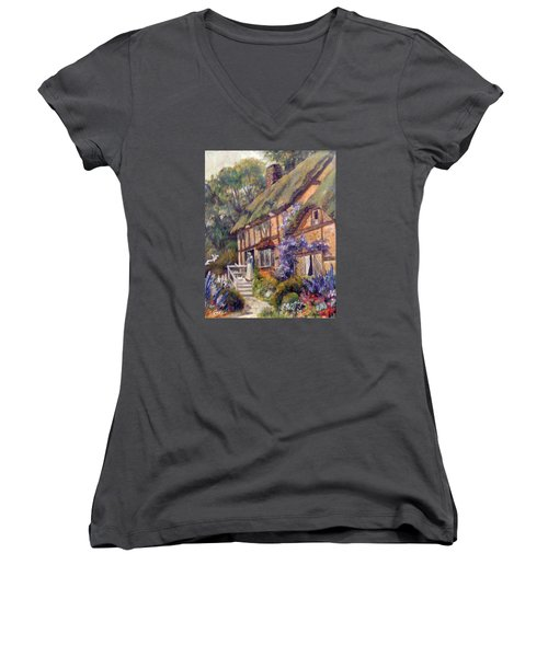 Women's V-Neck T-Shirt (Junior Cut) featuring the painting The Cottage by Donna Tucker