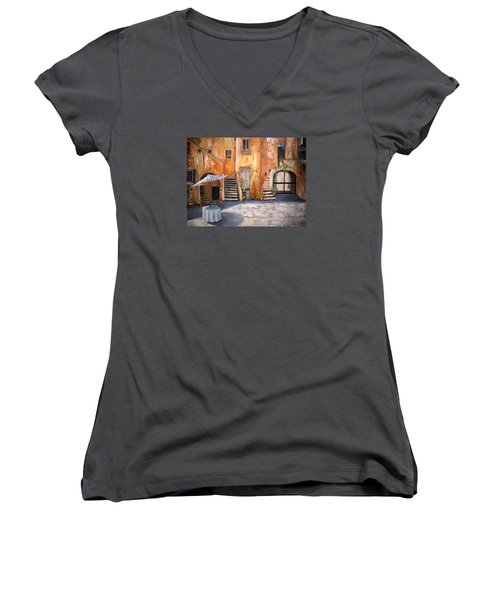Women's V-Neck T-Shirt (Junior Cut) featuring the painting The Courtyard by Alan Lakin