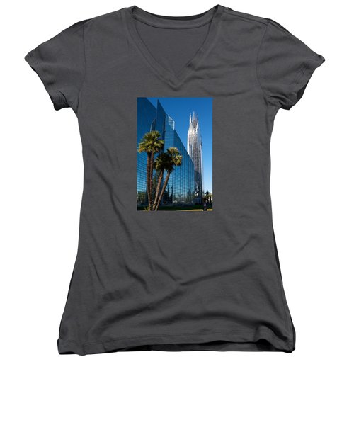 The Crystal Cathedral  Women's V-Neck T-Shirt (Junior Cut) by Duncan Selby