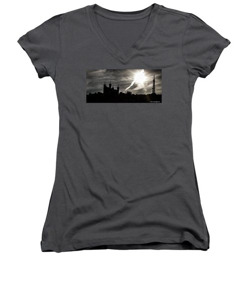 Women's V-Neck featuring the photograph The Dark Towers by Stwayne Keubrick