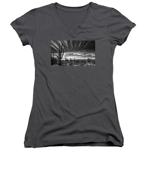 The Desert In Black And White Women's V-Neck T-Shirt (Junior Cut) by Saija  Lehtonen