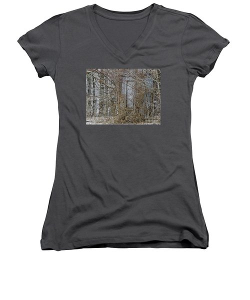 Women's V-Neck T-Shirt (Junior Cut) featuring the photograph The Door To The Past by Wilma  Birdwell