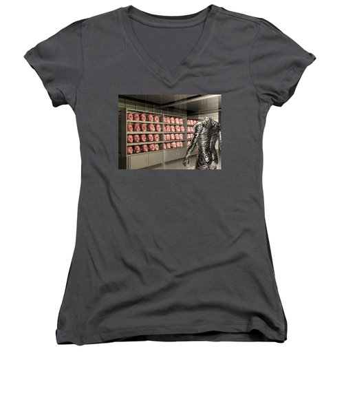Women's V-Neck T-Shirt (Junior Cut) featuring the digital art The Doppleganger by John Alexander