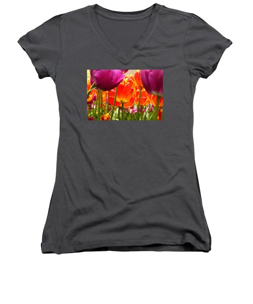 The Drooping Tulip Women's V-Neck T-Shirt (Junior Cut) by Catie Canetti