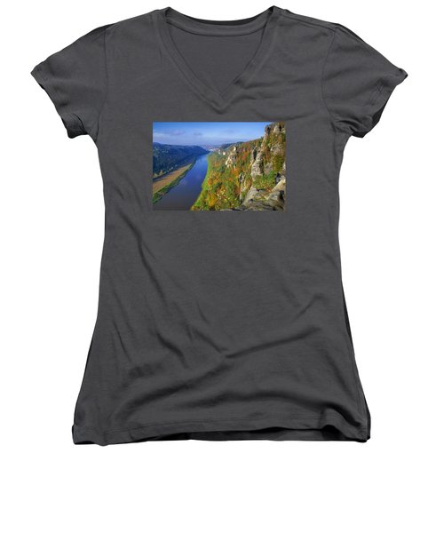 The Elbe Sandstone Mountains Along The Elbe River Women's V-Neck