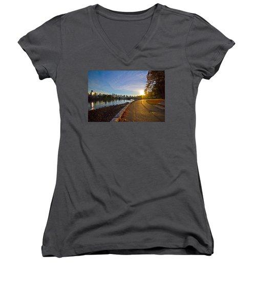 Women's V-Neck T-Shirt (Junior Cut) featuring the photograph The Emerald City by Eti Reid